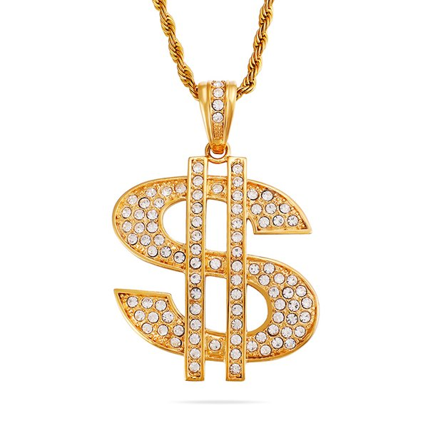 Men's Hip Hop Iced Out Dollar Sign Pendants Necklace 316L Stainless Steel Full Cubic Zirconia Setting 18K Gold Plated Jewelry