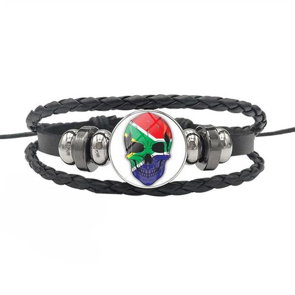 Noir Vintage Véritable Corde En Cuir Perlé Bracelets pour Femmes Hommes Afrique Du Sud Drapeau National Temps Gem Verre Dôme Crâne Série Bouton Bijoux