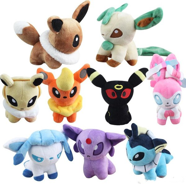Pikachu Plush Toys 9 Styles Stuffed Cartoon Dolls Umbreon Pikachu Eevee Toys Espeon Jolteon Vaporeon Flareon Glaceon Animals Stuffed Dolls