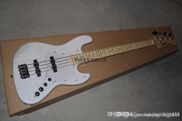 Бесплатная доставка Высокое качество Custom Shop белый 4 струны настройка системы джаз электрическая бас-гитара