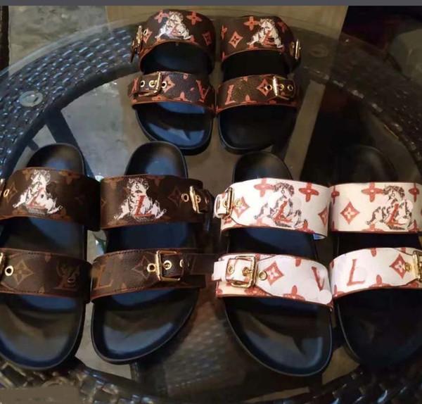 Дизайнерская обувь Женщины BOM DIA FLAT MULE Слайд Сандал Мода леди Письмо печати Кожа Резина Подошва Трусы с 35-40 с коробкой L18
