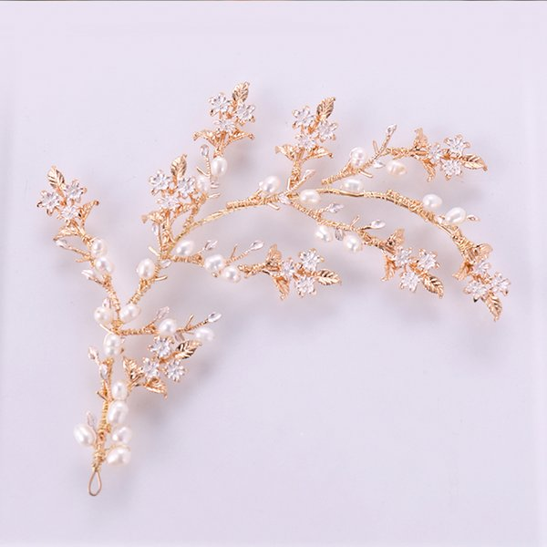 Gold Color Fresh Water Pearl Handmade Twig Leaf Hair Combs Wedding Women Hair Jewelry Accessories White Flower Bridal Headwear