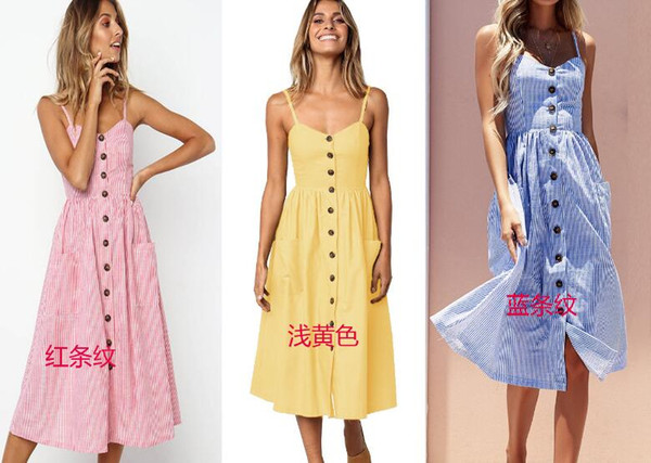 Elegant Button Women Dress Pocket Polka Dots Yellow Cotton Midi Dress  Summer Casual Female Plus Size Lady Beach White Teenage Dresses Gold Summer  ...