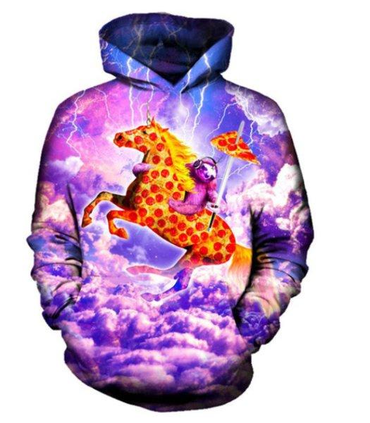 Womens Mens 3D Print Hoodie Sloth Pizza Sweatshirt Sweater Pullover Coat Tops