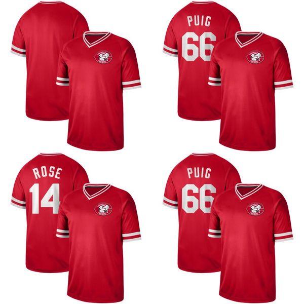 Mens Cincinnati 66 Yasiel Puig, 19 Joey Votto 7 Eugenio Suarez, 27 Matt Kemp, 12 Curt, Casali, 21 Michael Lorenzen, Vermelhos, Camisas De Basebol