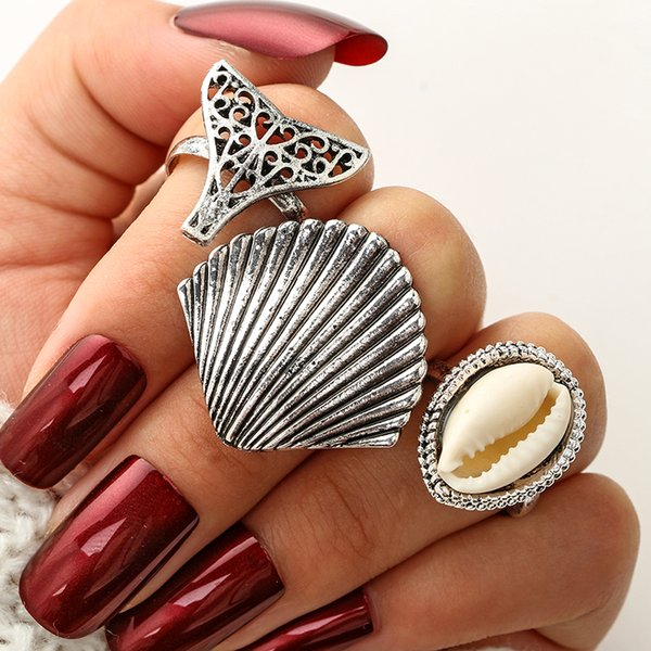 Sliver Mermaid Tail Shell Rings Set for Women Hollow Out Midi Finger Ring Hollow Ring Party Jewelry Brincos 3pcs/set