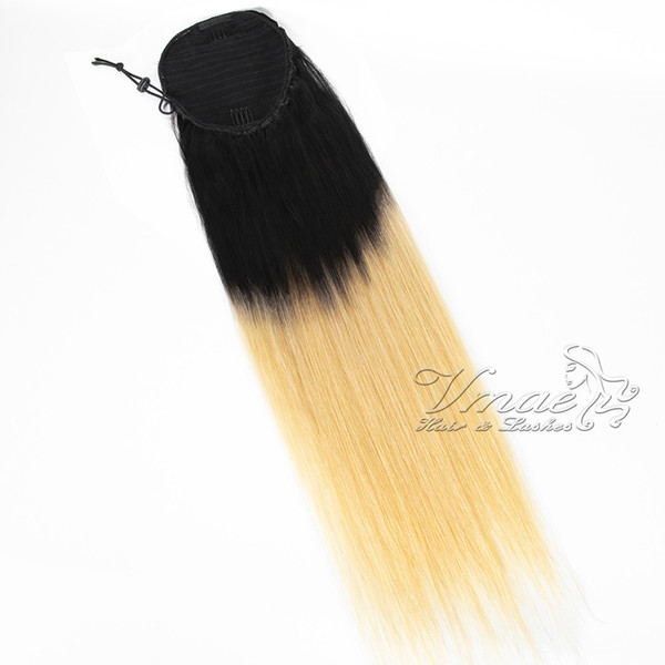 Peruvian Virgin Hair Clip In Elastic Band Drawstring Black 1B 613 Blonde 2 Tone Ombre Straight Human Hair Ponytail