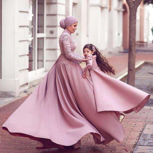 Belle arabo Dubai tuta Abiti da sera con Prom Dress treno staccabile Dusty Rosa musulmana manica lunga con collo alto in pizzo vestito convenzionale