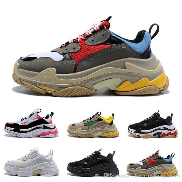2019 Multi Luxo Triplo S Designer Low Old Pai Sneaker Combinação Solas Botas Mens Moda Feminina Sapatos Casuais Alta Qualidade Superior Tamanho 36-45