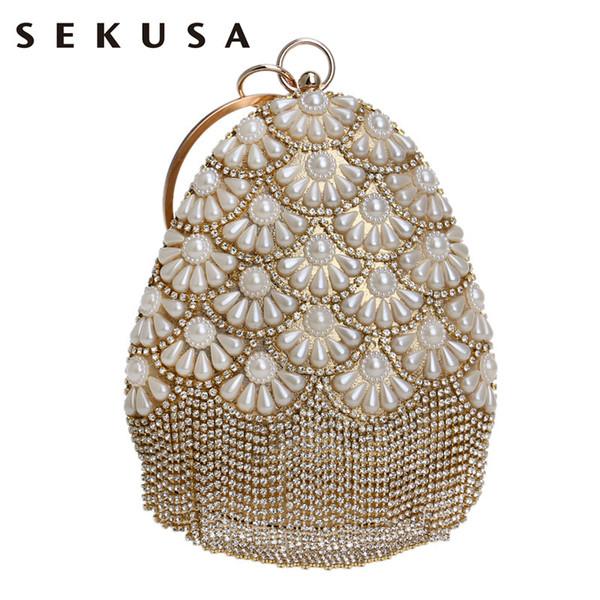 Sekusa Fruit Bucket Shaped Women Evening Bags Beaded Lady Tassel Rhinestones With Diamonds Clutch Pearl Wedding Handbags Q190429
