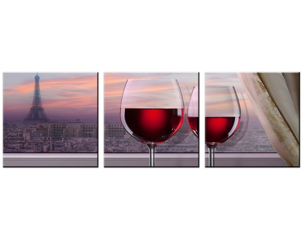 Unframed 3 Pieces Canvas Wall Art Red Paris Scenery and Red Wine Glass for Dining Room Pictures on Canvas for Home Decoration