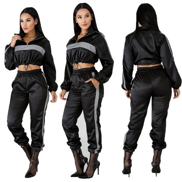 2019 Reflektierende Trainingsanzug 2 Zweiteiler Frauen Kleidung Schwarz Crop Top + Pants Trainingsanzug Sexy Club Outfits Passende Sets