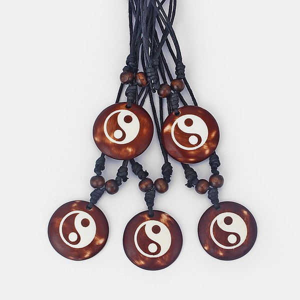 12pcs Brown Faux Yark Bone Resin Carved Yin Yang BAGUA Tai Chi Pendant Necklace Jewellery