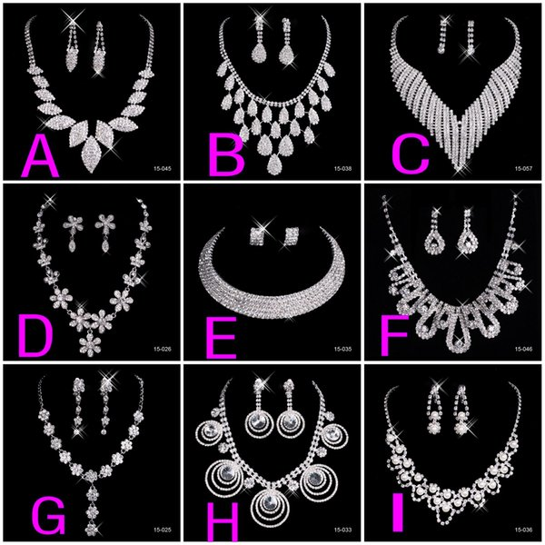 New Crystal Silver Rhinestone Necklace Earrings Jewelry Sets Girl and Women Prom Cocktail Homecoming Dress Party Bridal Gowns Wedding 2019