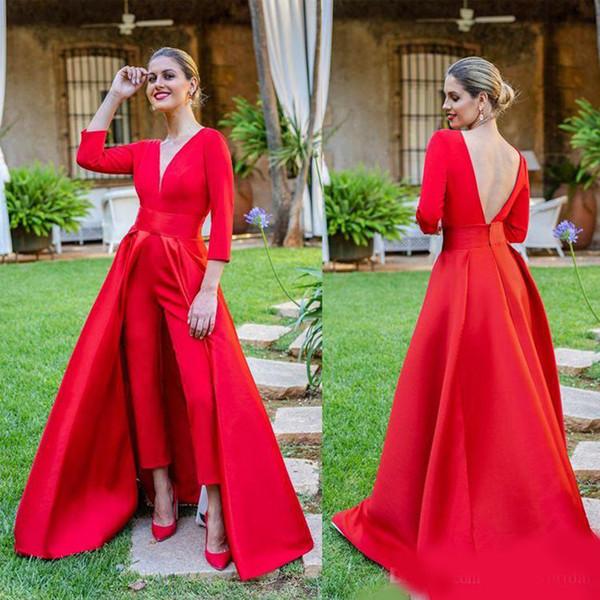 Сексуальные открытые спинки красные комбинезоны платья выпускного вечера 3/4 с длинными рукавами V шеи вечерние платья женщин уникальный дизайн платья