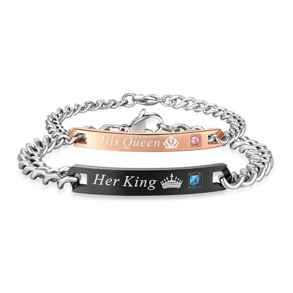 Lettre bracelet en diamant sa reine son roi sa beauté couple bracelets coeur couronne charme bracelet mode bijoux cadeau 50pcs CNY1027