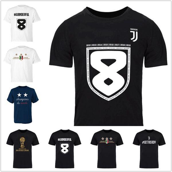 Erkekler w8nderful 37 Campioni D'italia Tees futbol futbol taraftarları t-shirt mavi Gri siyah