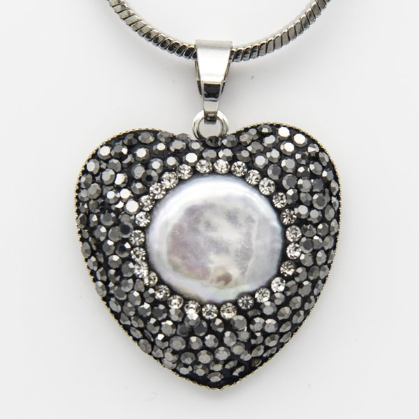 Black Rhinestone Alloy Clay Freshwater Pearl Heart Pendant Chain Necklace Silver Color Couture Jewelry Valentine Gifts for Women Wholesale