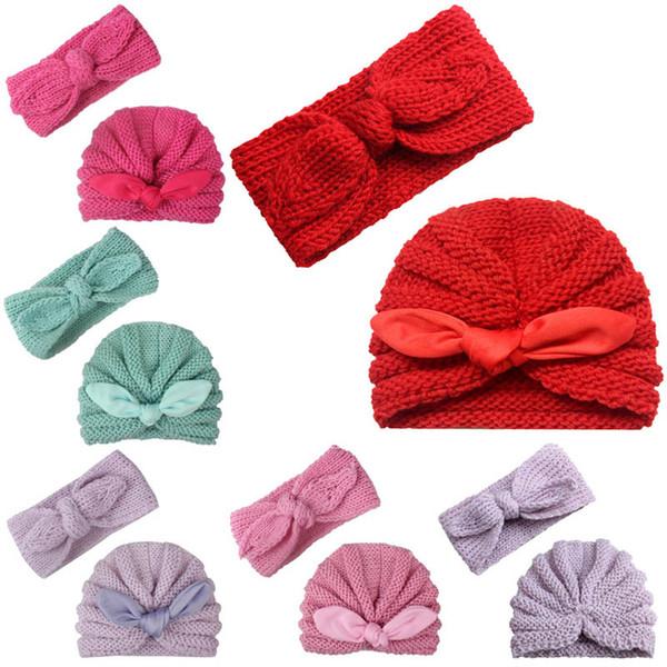 New baby Crochet Knit Hat Autumn Winter 2pcs/set Baby Headbands Newborn Beanies Head Bands Infants Hand Knitted Caps Baby Girl Hats A2641