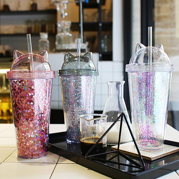 Neue Ohr Glitter Doppel Milch Tee Tasse Kinder Baby Cartoon niedlich Wasser Tasse kreative Pailletten Kunststoff Stroh Saft Tasse Glas Tassen T2I5150