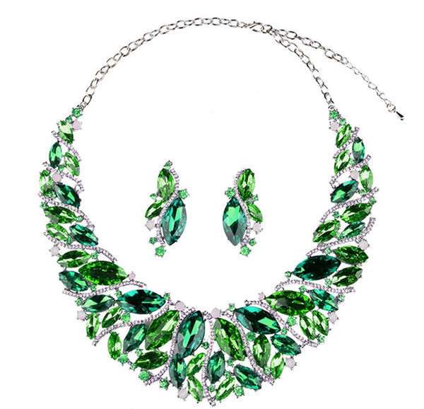Shinning Green Blue Crystals Jewelry 2 Pieces Sets Necklace Earrings Bridal Jewelry Bridal Accessories Wedding Jewelry T301463