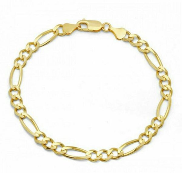 5mm Men Cuban Miami Chain 18k Gold Plated Stainless Steel Figaro Bracelet Chain
