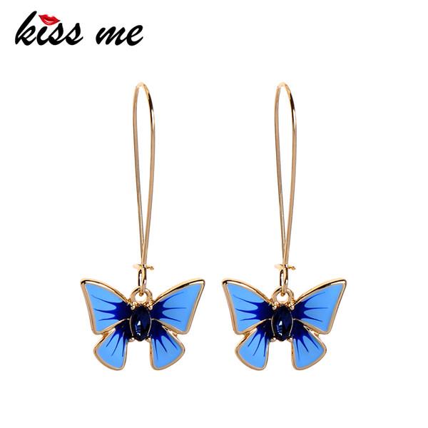 kissme bonito azul do esmalte borboleta brincos para mulheres presente vidro requintado Insect Ear HookEar Pin Bijuterias Atacado