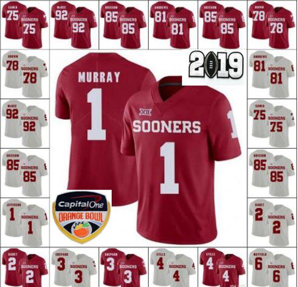 Oklahoma Sooners 1 Kyler Murray 2 CeeDee Lamb 4 Trey Sermon 5 Marquise Brown 26 Kennedy Brooks 44 Radley-Hiles 2019 Orange Bowl Jerseys Rojo