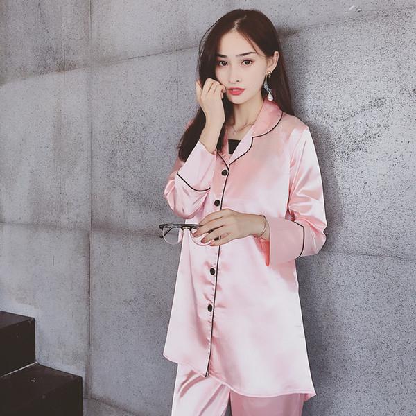 Moda-Mulheres De Seda Pijamas Set Verão Outono Menina Lindo Cílios Bordados Harness Robe com Máscara de Olho Camisola Sleepwear Cueca
