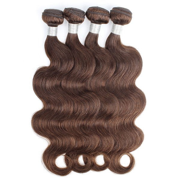 Color 4 Chocolate Brown Human Hair Bundles Brazilian Virgin Body Wave Hair Weaves 3/4 Bundles 12-24 inch 100% Remy Human hair extensions