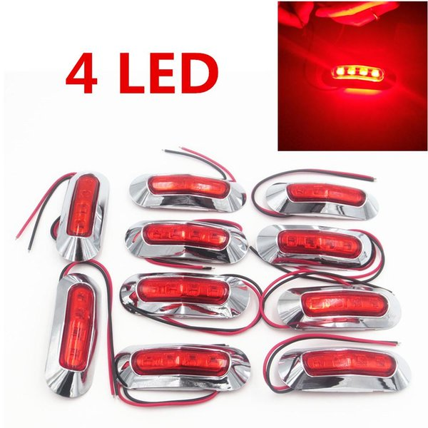 10X 10v-30v Waterproof 4 LED Side Marker Light Clearance Lamp Truck Trailer Red High Power