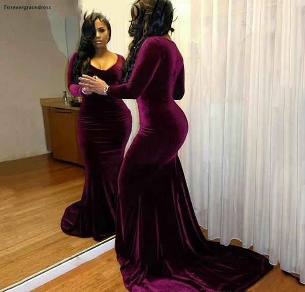 Black Girls Velvet Prom Dress Dubai Arabic Mermaid Long Sleeves Formal Holidays Wear Graduation Evening Party Gown Custom Made