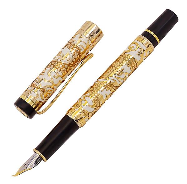 Jinhao 5000 Vintage Luxus Metall Kalligraphie Füllfederhalter Bent Nib Schöne Drachen Textur Carving, Golden White Office Pen