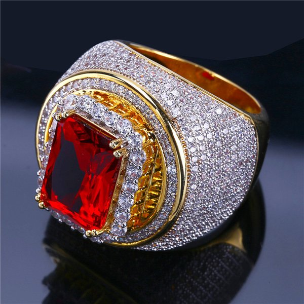 2019 Hip Hop Gold Plated Rings For Man Brand Design Cubic Zirconia Red Gem Hiphop Ring Mens Fashion Jewelry Free Shipping