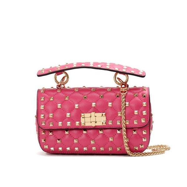 2019 New Pattern Star With Fund Genuine Leather Woman Package Sheepskin Rivet Hand Take Small Fang Bao Ma Am Single Shoulder Bags lu1