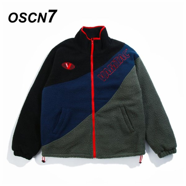 OSCN7 уличной стоя воротник контраст цвета письмо Вышивка флис ватник куртка мужчины зимняя куртка мужчины W243