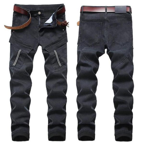 Einzigartige Mens Big Pocket getäfelten Stretch-Jeans Mode Vintage Straight Leg Slim Fit Motorrad zerkratzt Biker Denim Pants