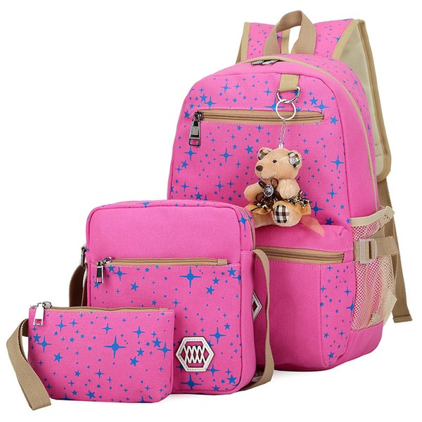 3pcs/set Composite Bag Preppy style Backpack Fashion For Teenage Girl Canvas School Bags Cute Bear 3 Set Backpack Female shoulder mochila