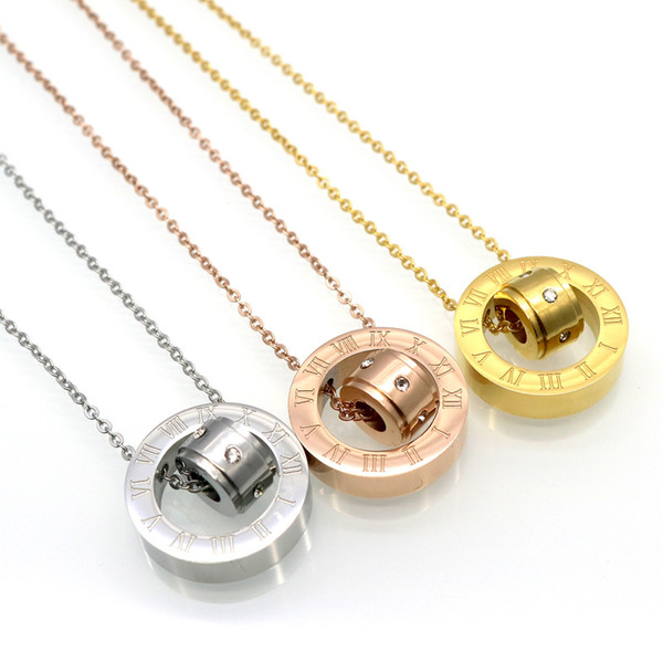 fashionable roman number cz stone engraved necklace,18k plated double ring lucky beads stainless steel jewelry necklace
