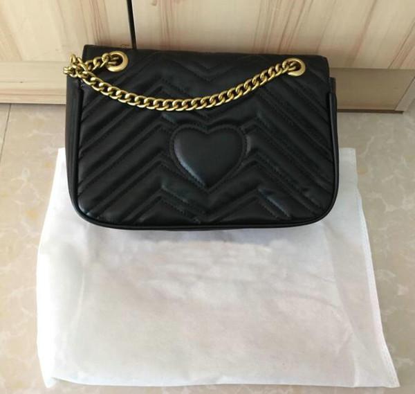 Fashion Women Shoulder Bags Classic Pu Leather Marmont Heart Style 26/16/cm Gold Chain Women Bag Handbag Tote Bags Messenger Handbags M44309