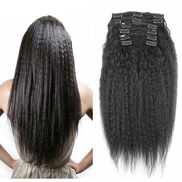 Schwarzes braunes blondes verworrenes gerades Klipp in den menschlichen Haar-Verlängerungen 8pieces Satz 100-120g groben Yaki Klipp Ins unverarbeitetes menschliches Haar reines Haar