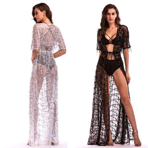 2019 Hot Sexy Bikini Cover-Up Dresses Sequined Tassels Maxi Casual Dresses Deep V-Neck Short Sleeve Kimono Dress Beach Party Prom Dresses