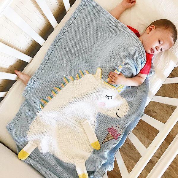 4 cores 60 * 120 cm bebê dormindo cobertores cavalo dos desenhos animados cobertor crianças fio de lã cobertor de malha tapete de praia toalha de crochê panos m322