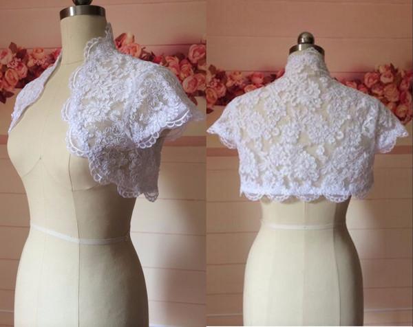 2019 High quality Lace White Wedding Bridal Jackets Bolero Short Sleeves Applique Cheap Wedding Wrap For Wedding Dress Gowns Plus size