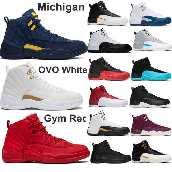 2019 12 Spor Kırmızı Basketbol Ayakkabı BUMBLEBEE Kanatları Uluslararası Uçuş Michigan Taksi Erkekler Tasarımcı Spor Ayakkabı Usta Sneaker Boyutu 7-13