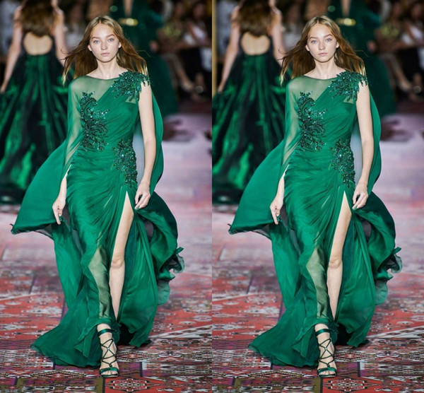 Zuhair Murad 2020 New Collection Dark Green Prom Dresses Long Sleeve Crew Neck Chiffon Sweep Train Formal Occasion Prom Event Party Dress