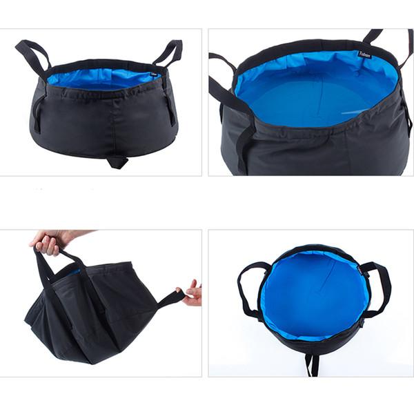 Portátil de viaje Plegable Lavabo Durable Bolsa de agua Olla para acampar Senderismo Suministros de baño Cubo de lavado plegable al aire libre BC BH1250
