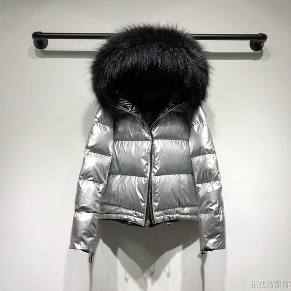 Large Raccoon Fur Jacket Duck Down Coat Plus Size 2019 Parkas For Women Winter Glossy Both Side Wear Warm Waterproof Women