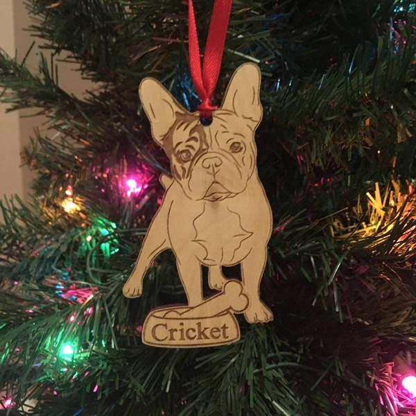 Bouledogue Français Ornement de Noël *** Ornement de chien personnalisé *** Cadeau d'amoureux des chiens *** Noël Ornamament pour animaux de compagnie