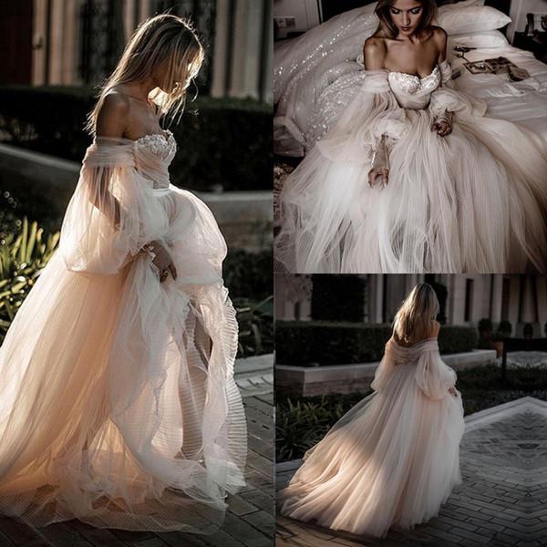Impressionante Completa Saia De Tule Vestidos De Casamento 2019 Romântico Lanterna Manga Fada Conto de Campo No Campo Vestidos de Casamento Vestidos